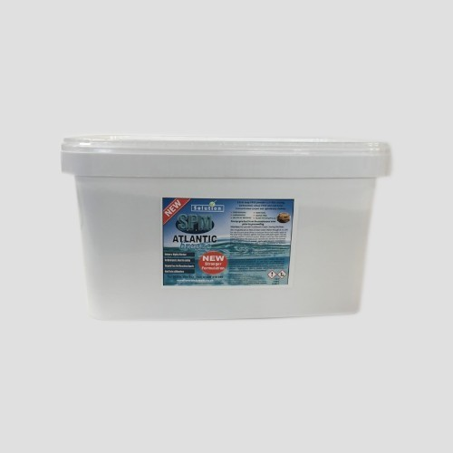 a 10kg tub of SPM Atlantic Breeze carpet and upholstery cleaner on a grey background